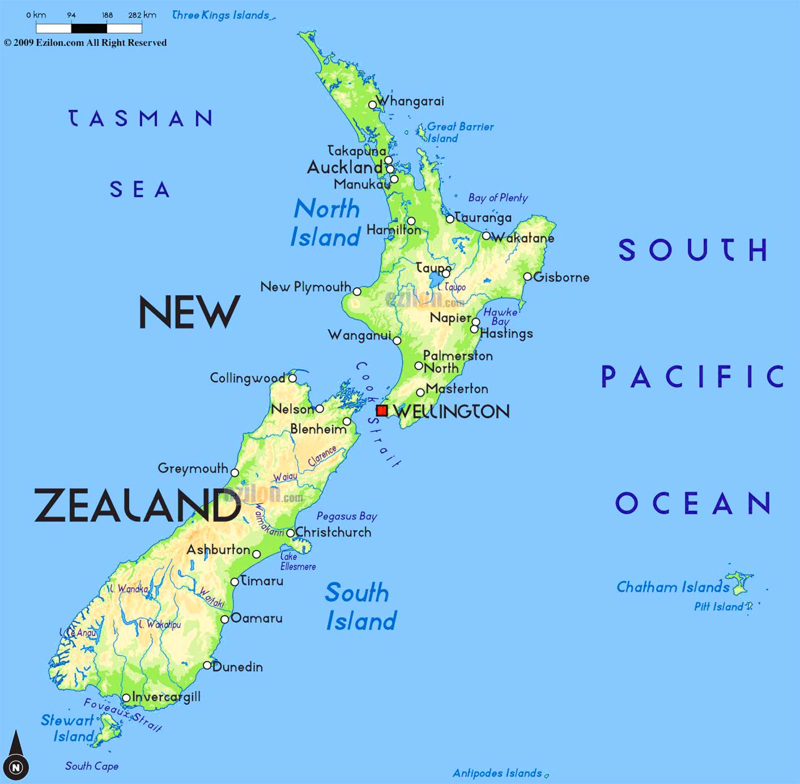 This is a picture of Gargantuan Printable Map of New Zealand