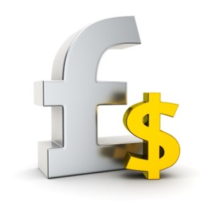 Big metallic pound symbol and small golden dollar sign