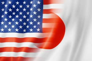 Mixed USA and Japan flag, three dimensional render, illustration