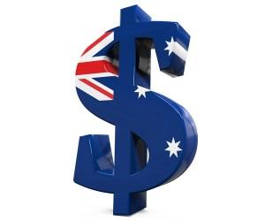 Australian Dollar Symbol isolated on white background. 3D render