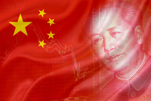 Flag of China with a chart of financial instruments and the face of Mao Zedong on RMB (Yuan) 100 bill.