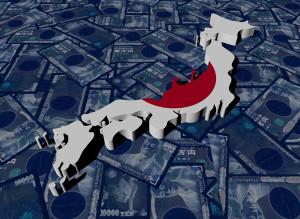 Japan Map flag on Yen illustration