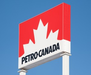 STEWIACKE CANADA - JANUARY 07 2016: Petro-Canada fuel station sign. Petro-Canada was an oil and gas industry crown corporation of Canada. In 2009 Petro-Canada and Suncor energy merged.