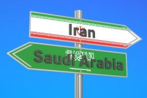 Iran and Saudi Arabia crisis conflict concept 3D rendering