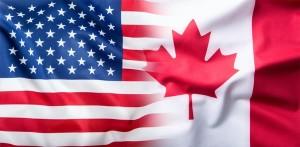 USA and Canada. USA flag and Canada flag.
