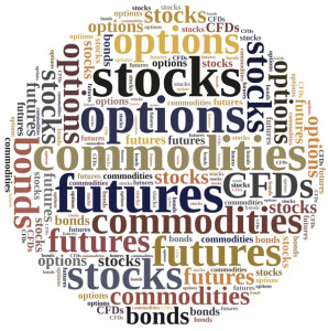 Different types of financial instruments. Investing in commodities stocks options futures or bonds.