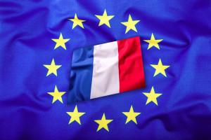 Flags of the france and the European Union. France Flag and EU Flag. Flag inside stars. World flag concept.