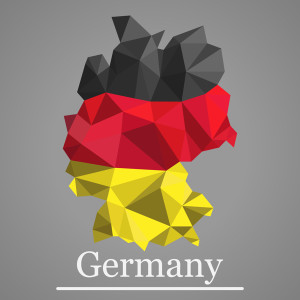 Geometric polygonal design map of Germany. Geometric vector Germany flag colors.
