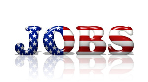 The word Jobs in the American flag colors Jobs in America