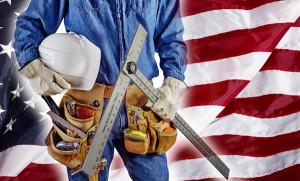 contractor carpenter man on USA flag building America concept patriotism