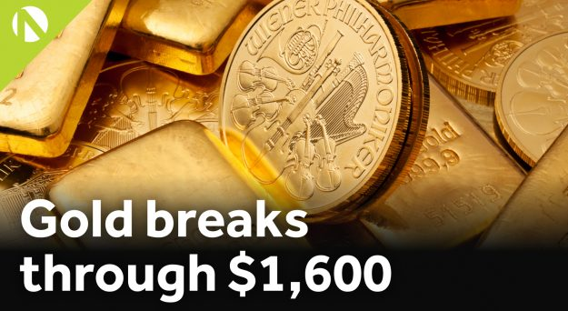 Gold breaks through $1,600 (video)